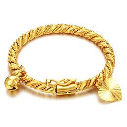 $enCountryForm.capitalKeyWord NZ - Gold Bracelet & Bangle Cuff for Children Kid Boy Girl Baby Heart Pendant Bell Twist Chain Wristband Fashion Jewelry