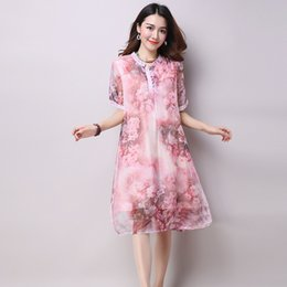Robes Longues En Couches Femmes Pas Cher-Loose Long Floral Printed Chiffon Robe à manches courtes Summer Layered Midi Robes Plus Size Women Casual Dress LYQ007