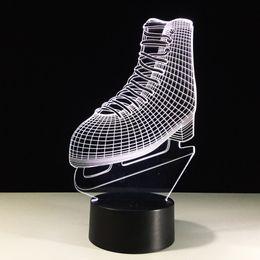 Figure Ice Skating Canada - 2016 ice skates 3D Optical Illusion Lamp Night Light 7 RGB Lights DC 5V USB Charging AA Battery Free Shipping