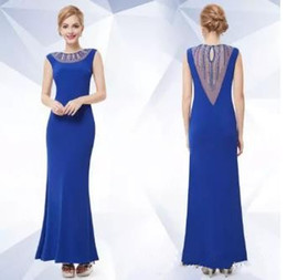 $enCountryForm.capitalKeyWord Canada - 2017 Sexy Blue Jewel Sleeveless Back Transparent Ankle-Length Elastic Satin Evening Prom Cocktail Party Dresses Free Shipping