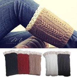 lace boot toppers Australia - Fashion Womens Hollow Crochet Knit Lace Trim Leg Warmers Cuffs Toppers Boot Socks Boot Gloves 5 Colors DDA010