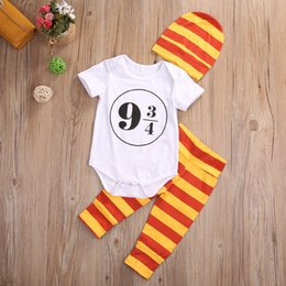 halloween striped leggings NZ - 3pcs Baby Girl Boy Harry Potter Costume Outfits 0-24M Romper+Leggings+Hat Set Baby Clothing Striped Toddler 9 3 4 Platfrom Adorable Suits
