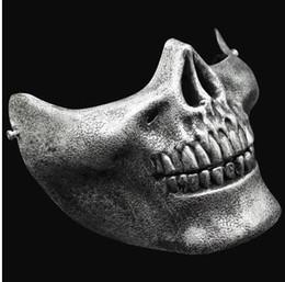 Protective face mask skull online shopping - Christmas Half Face Skeleton Warriors Halloween Masks Protective Skull Mask of Terror Halloween Masquerade CS Games Masks
