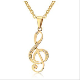 Discount musical note pendant necklace 2018 musical note pendant musical note pendant necklace men jewelry trendy gold black plated cz stone friends necklace free 24inch chain pn 560 aloadofball Choice Image