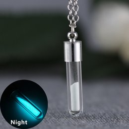 Discount glow bottles Wholesale-Vintage Jewelry Glow In the Dark Necklace with Glass Bottle Vial Necklace Pendant for Christmas Gift