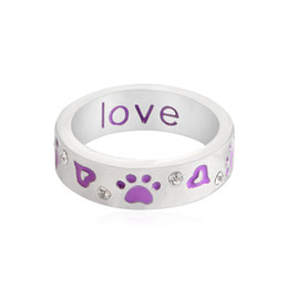 "wholesale dog lover gifts NZ - Purple Heart Dog Cat Paw & Crystal ""Unconditional love"" Ring Paw Prints Jewelry Lover Gifts Christmas Day"