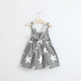 China Retail Summer New Girl Dress Star Moon Sun Cloud Print Black White Stripe Backless Beach Dress Children Clothing 2-7Y 3065 supplier clouds clothing suppliers