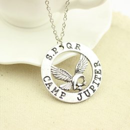 Discount percy jackson necklace Free Shipping New Fashion Movie Jewelry Percy Jackson Camp Jupiter Spqr Eagle Pendant High Quality Necklace For Women Wh