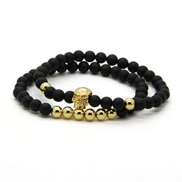 Discount double beads - New Men's Skull Bracelets Wholesale 10 Sets 6mm Natural Matte Agate Stone Beads With Stainless Steel Skull Double B