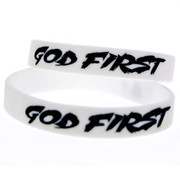 glow party decorations UK - 1PC Ink Filled Color Decoration Logo God First Silicone Rubber Wristband White Adult Size Soft And Flexible