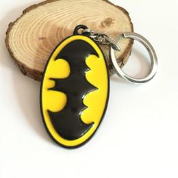 Superhero Keychains Canada - Superhero Batman Bat Logo Keychain can Drop-shipping Metal Key Rings For Gift Chaveiro Key chain Jewelry