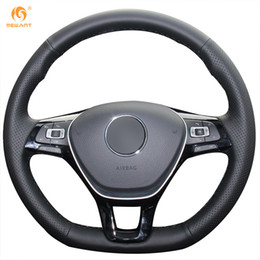 Vw Golf Cover Canada - Mewant Black Genuine Leather Car Steering Wheel Cover for Volkswagen VW Golf 7 Mk7 New Polo Jetta Passat B8 Tiguan Sharan Touran Up