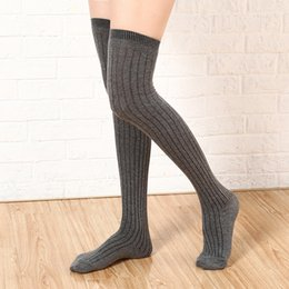 Barato Meninas Meias Coxa-Big Girl Knee Socks Medusas de musculação Opaque Warm Japanese School Student Black Stripe Long Socks