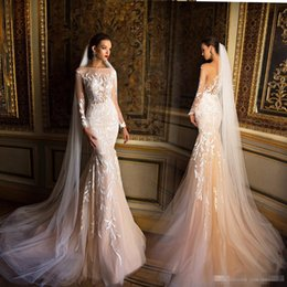 Milla Nova Champagne Mermaid Long Sleeve Wedding Dresses 2017 Modest Lace Applique Fishtail Beach Party Bridal Gowns Cheap