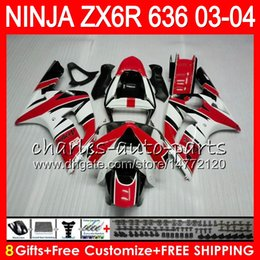 Red White Kawasaki Canada - 8Gifts 23Colors kit For KAWASAKI NINJA ZX 636 ZX 6R 03-04 600CC 29NO52 red white ZX-6R 2003 2004 ZX-636 ZX636 ZX6R 03 04 Fairing Bodywork