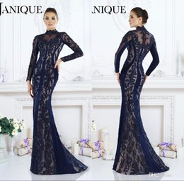 Barato Manga Comprida Bordado Vestido De Baile-2017 Nave Blue Lace Bordado árabe Dubai Long Sleeve Prom vestidos de festa de pescoço alto Mermaid Beaded Formal Evening Wear