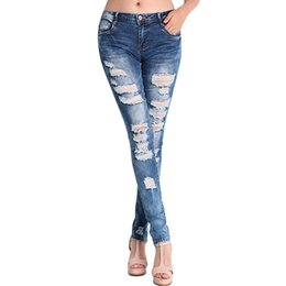 wholesale women ripped jeans Canada - Wholesale- Women Jeans Ripped Holes Fashion Straight Full Length Mid Waist Famale Washed Denim Pants Cotton Trousers