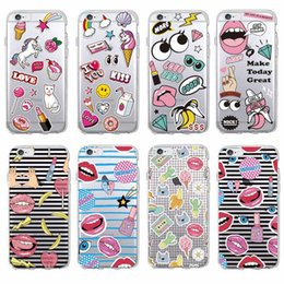 Lips Phones Canada - Fashion Stickers Style Cute Coin Lips Lipsticks Cosmetics Soft Phone Case For 7 7Plus 6 6S 6Plus 5 5S 8 8Plus X SAMSUNG