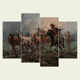 $enCountryForm.capitalKeyWord UK - (No frame) The natives series HD Canvas print 4 pcs Wall Art Oil Painting Textured Abstract Pictures Decor Living Room Decoration