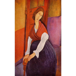 $enCountryForm.capitalKeyWord NZ - Jeanne Hebuterne (aka In Front of a Door) by Amedeo Modigliani Paintings Woman abstract art High quality Hand painted
