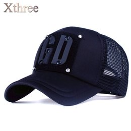 08997bc01fd Wholesale-  Xthree 5 panels fashion men summer baseball cap women rivet  mush cap snapback hat for girl bone gorras cheap letter rivet hat