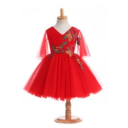 Gowns For Flower Girls NZ - 2018 Tiered Applique Red Flower Girls For Wedding Dresses Real Photo V-Neck A-Line Ruffle Tea-Length Poet Simple Communion Gown For Kids