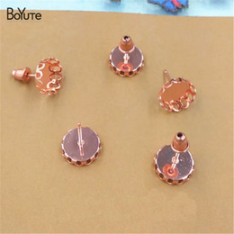 $enCountryForm.capitalKeyWord NZ - BoYuTe 50 Pieces To Fit 10mm 12mm Cabochon Earring Base Rose Gold Plated Stud Earring Blank Tray Diy Jewelry Findings