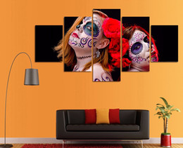 painting girls rooms NZ - 5 Pcs Set HD Printed Day Of The Dead Girls Picture Wall Art Canvas Room Decor Poster Canvas Modern Oil Painting