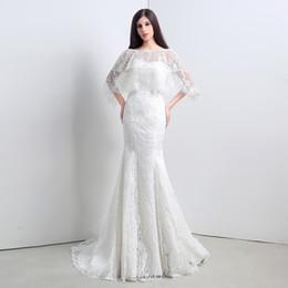 $enCountryForm.capitalKeyWord NZ - Real Images Full Lace Mermaid Wedding Dress with Jacket Sweep Train Back Lace Up Robe De Mariage Plus Size Wedding Dress