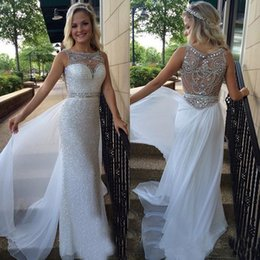 $enCountryForm.capitalKeyWord Australia - Sparkling sequined long evening dresses with chiffon overskirt perfect handmade beaded rhinestone prom formal evening gowns