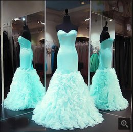 Barato Menta Vestido De Baile Querida-Menta Mermaid Prom Dresses 2017 Sweetheart Satin Ruffles Organza Teesn Vestidos de baile formal Seniors Vestidos de festa Custom Made New