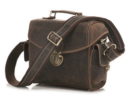 $enCountryForm.capitalKeyWord Canada - Vintage Crazy Horse Leather Camera Bag men Briefcase 100% Genuine Leather shoulder bag men crossbody Camera retro casual shoulder bag