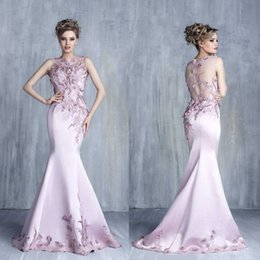 Barato Trombeta De Sereia De Lantejoulas-Graceful Pink Mermaid Vestidos de noite Bateau pescoço Appliques Beads Sequins Evening Wear Sweep Trem Organza Trumpet Long Prom Vestido
