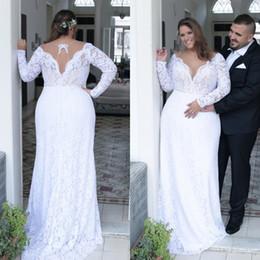 $enCountryForm.capitalKeyWord Canada - Stunning Bridal Mermaid Sheath Column Plus Size Wedding Dress White Lace Bridal Gowns with Long Sleeves Keyhole Back Sweep Train