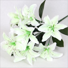 Silk Perfume Canada - Simulation lily 10 perfume lily silk flower wedding flowers home decoration tiger orchids
