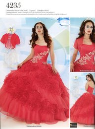 Discount beautiful red quinceanera dresses - Beautiful Style Ball Gown Strapless Quinceanera Dresses With Short Sleeve Jacket Floor Length Ruffles Organza Sweet 16 P