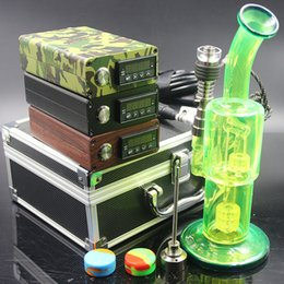 wood water pipes 2019 - ArmyGreen Wood color black color electric nail Kit heat Coil Glass Bong Hybird Titanium nail Oil Rigs Glass Bongs Water