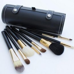 China Factory Direct DHL Free Shipping New Makeup Professional M Brushes Brush 9 Pieces with leather Pouch peach black + eyeliner makeup gift free suppliers