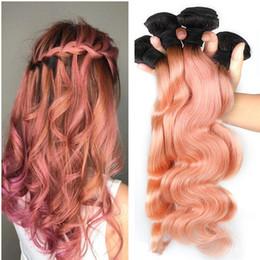Peruvian gold hair online shopping - 300g b Pink Rose Gold Ombre Human Hair Weave Bundles Two Tone Good Quality Colored Brazilian Body Wave Peruvian Malaysian Indian Hair