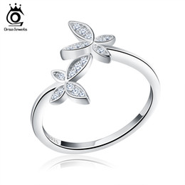 Discount orsa rings - ORsa Solid 925 Sterling Silver Ring Rhodium Plated Butterfly Resizable With Zirconia Rings Fashion Jewelry SR10