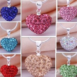 $enCountryForm.capitalKeyWord NZ - Women Fashion Heart Crystal Rhinestone Pendant Necklaces multi colors Chain Pendant Necklace Jewelry 11 Color CA071