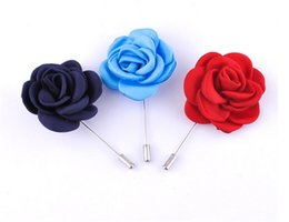 $enCountryForm.capitalKeyWord UK - men brooch rose flower lapel pin suit boutonniere fabric yarn pin 3 colors button Stick brooches for wedding