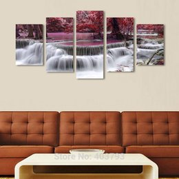 painted christmas canvas UK - Modern HD Printed 5 Panels Canvas Art Landscape Painting Decorative Wall Pictures Home Decoration Christmas Gifts