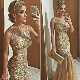 Barato Vestido Nude Vestido De Baile De Tule-Sexy Mermaid Gold Evening Gowns Cap Sleeve Tulle Beading Sequined Prom Dresses New Arrival Sweep Train Sparkly Dresses