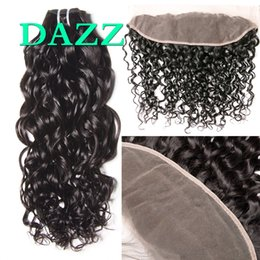 $enCountryForm.capitalKeyWord Australia - DAZZ Brazilian Water Wave Virgin Hair 3 Bundles With Frontal 13x4 Lace Closure With Baby Hair Bleach Knots Human Hair Bundles With Closure