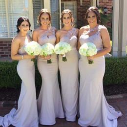 $enCountryForm.capitalKeyWord Canada - 2017 New Elegant One Shoulder Lace Long Bridesmaid Dresses Satin Applique Mermaid Floor Length Wedding Party Prom Dresses