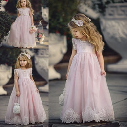 $enCountryForm.capitalKeyWord NZ - Lovely Light Pink Flower Girl Dresses Special Occasion For Weddings Kids Pageant Gowns A-Line Lace Appliqued First Communion Dress