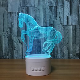 cards slots NZ - 3D Horse LED Illusion Lamp Bluetooth Speaker with 5 RGB Lights TF Card Slot DC 5V USB Charging Wholesale Dropshipping