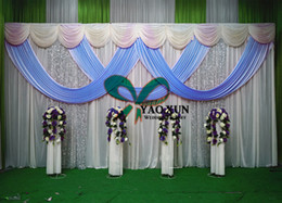 White Wedding Backdrop Drape Curtain And Sky Blue Color Swag With The Stand Pipe Stent