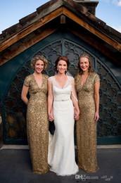 $enCountryForm.capitalKeyWord Canada - 2017 Bridesmaids Dresses A Line V Neck Short Capped Sleeve Empire Gold Sequin Maids of Honor Dresses Plus Size Bridemaid Gowns Custom Made